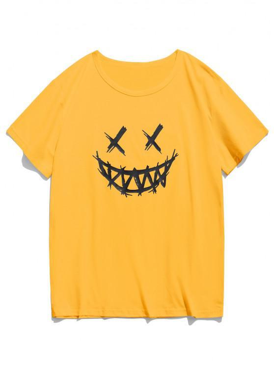 وجه سعيد الجرافيك عارضة قصيرة الأكمام تي شيرت - الأصفر L