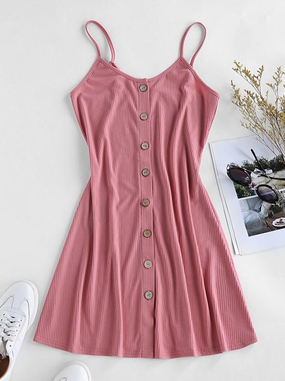 women ZAFUL Button Down Slip Dress - BLUSH RED M