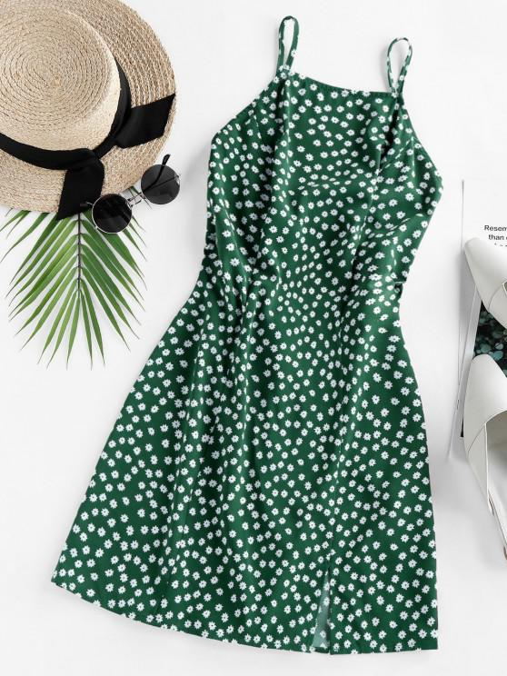 fashion ZAFUL Ditsy Print Back Tie Slit Mini Dress - MEDIUM FOREST GREEN L