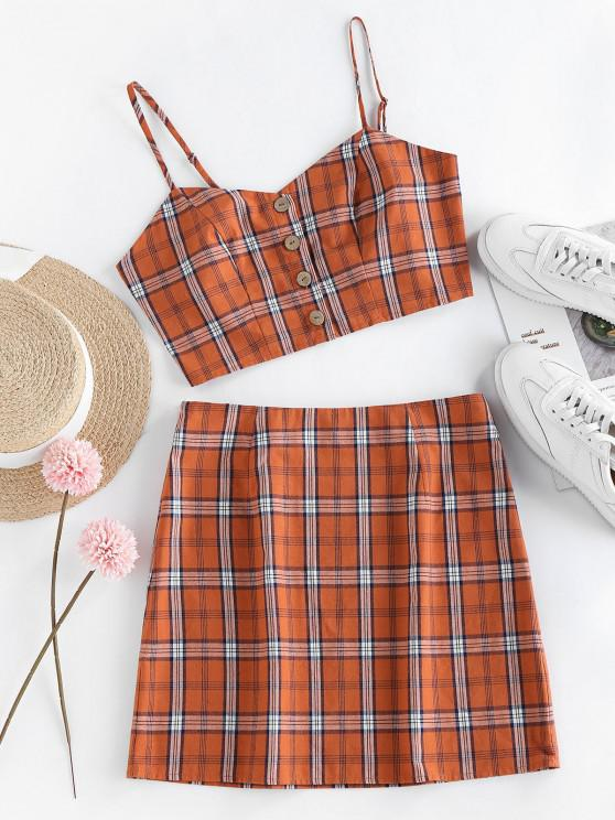 trendy ZAFUL Plaid Button Up Mini Skirt Set - ORANGE XL
