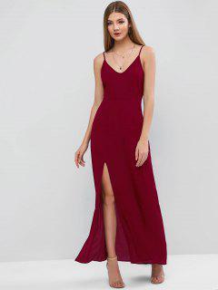ZAFUL Vestido Maxi Cami Com Fenda - Vermelho Escuro L