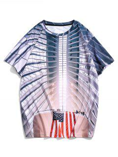 American Flag 3D Print Short Sleeve Casual T Shirt - Multi 2xl