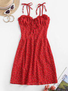 Tie Shoulder Ditsy Floral Lettuce Trim Mini Dress - Red L