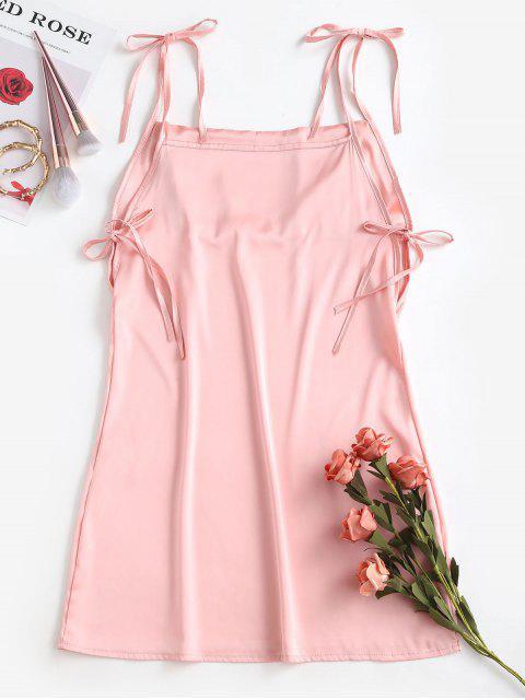 chic Satin Tie Shoulder Mini Dress - PINK M Mobile