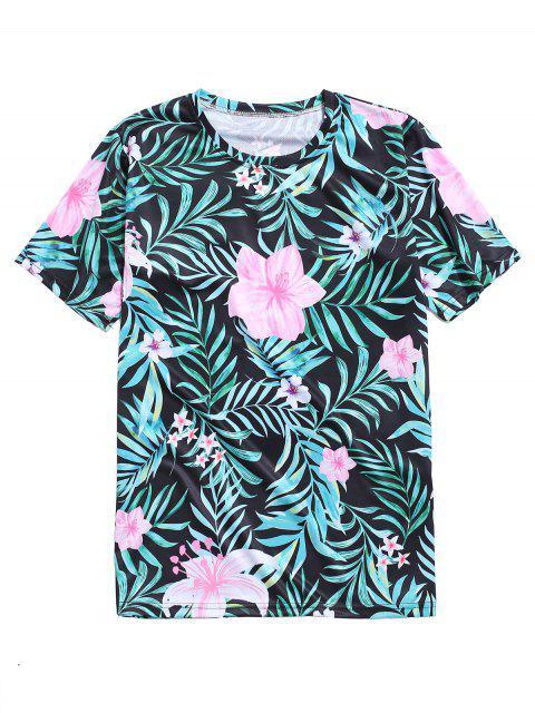 T-Shirt con Stampa Foglie e Fiori Tropicali - Verde Tartaruga M Mobile