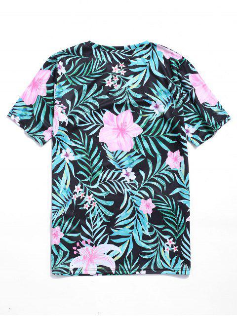 T-Shirt con Stampa Foglie e Fiori Tropicali - Verde Tartaruga XL Mobile