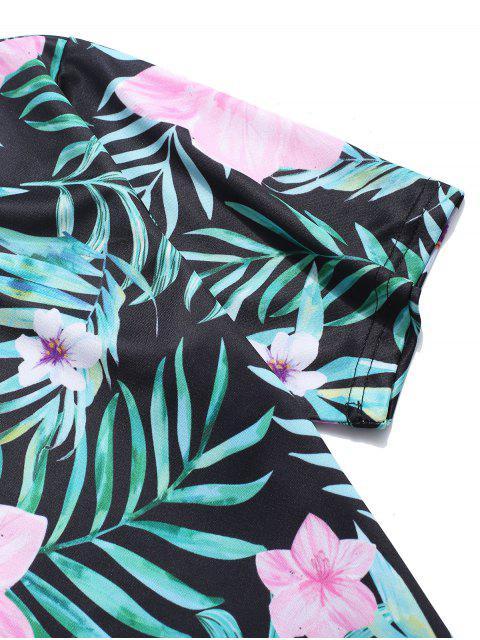 T-shirt de Férias Estampado de Folhas Tropical - Verde de Tartaruga Marinha 4XL Mobile