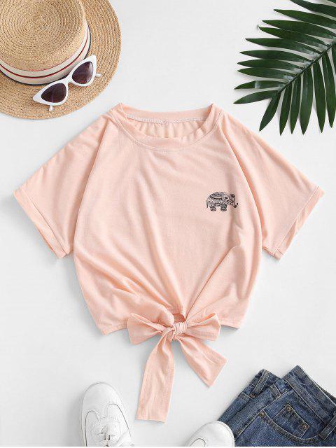 Camiseta Recortada con Lazo Gráfico Elefante - Color de Melocotón Oscuro S Mobile