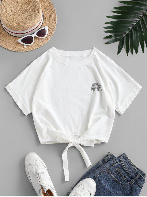 Camiseta Recortada con Lazo Gráfico Elefante - Blanco S Mobile
