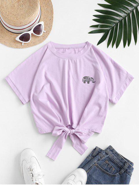Camiseta Recortada con Lazo Gráfico Elefante - Color de malva M Mobile