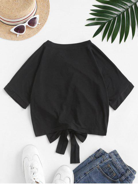 Camiseta Recortada con Lazo Gráfico Elefante - Negro S Mobile