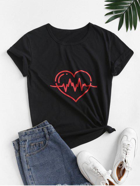 ハートグラフィックコットンベーシックカジュアルTシャツ - ブラック XL Mobile
