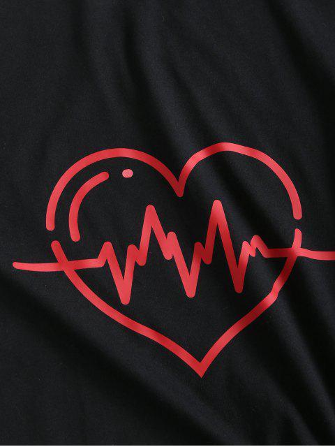 T-shirt de Base Décontracté Graphique Cœur en Coton - Noir XL Mobile