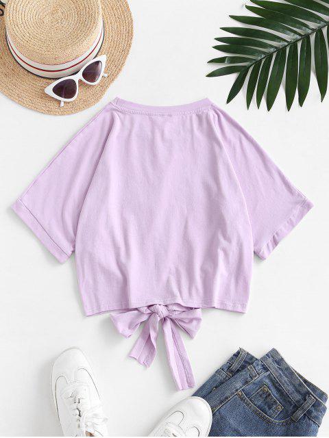 Camiseta Recortada con Lazo Gráfico Elefante - Color de malva L Mobile