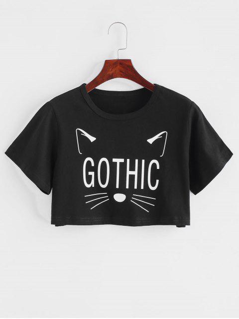 T-shirt Court Gothique Graphique Chat Amusant - Noir L Mobile