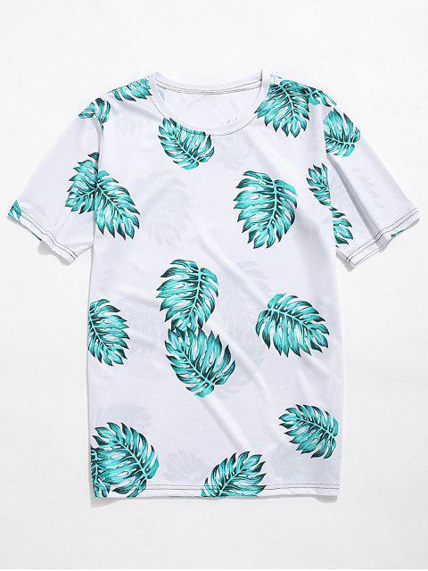 Maglietta per Vacanza con Stampa a Foglie Tropicali - Mare Verde Leggero 3XL Mobile