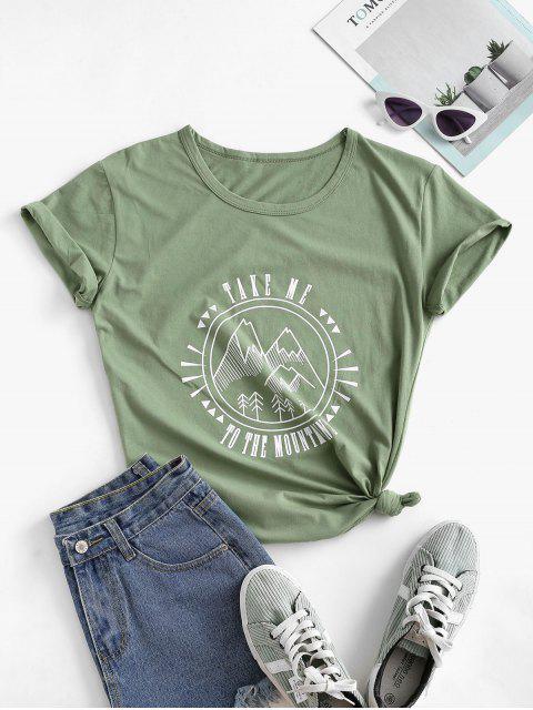 T-shirt de Base Montagne Graphique en Coton - Vert Oignon XL Mobile