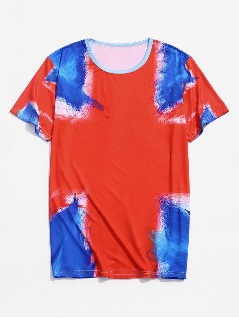 T-shirt de Mangas Curtas Padrão de Pintura - Vermelho L Mobile