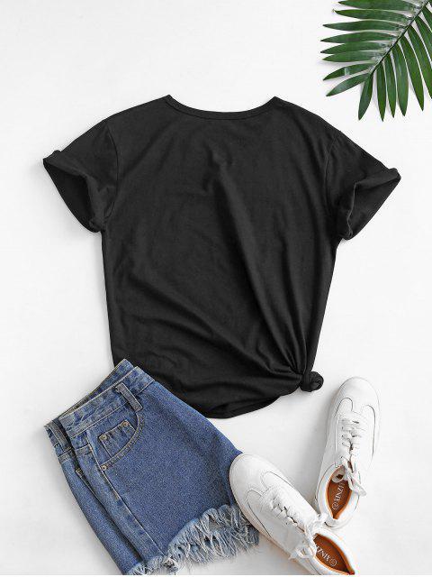 T-shirt de Base Graphique Lune et Vague en Coton - Noir 2XL Mobile