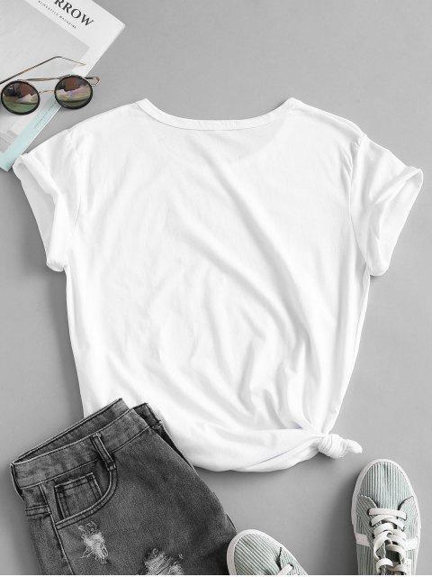 T-shirt de Base Noué Lettre Graphique Slogan en Coton - Blanc S Mobile