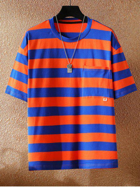 T-shirt Listrado com Decoração de Bolso - Vermelho 3XL Mobile