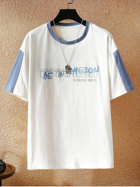 shop Letter Print Colorblock Panel T-shirt - WHITE 3XL Mobile