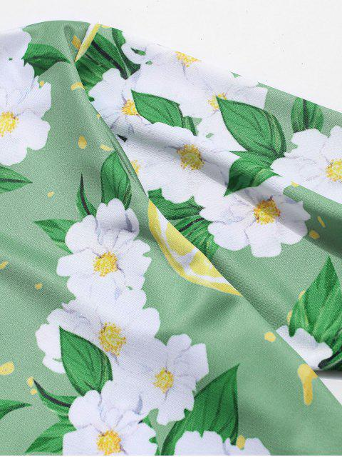 sale Flower and Lemon Print Vacation T-shirt - GREEN ONION 3XL Mobile