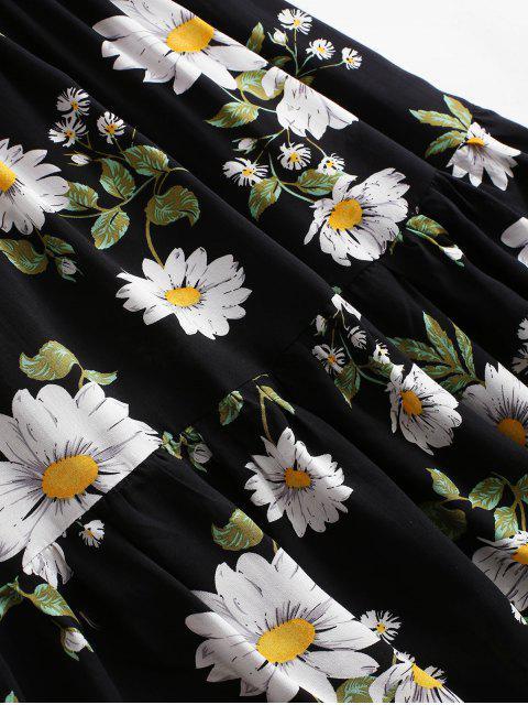 fashion ZAFUL Flower Smocked Mock Button Flippy Hem Dress - BLACK S Mobile