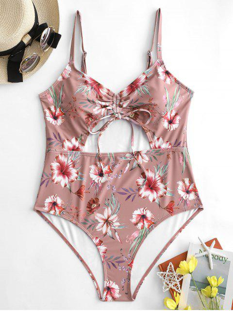 fancy ZAFUL Plus Size Flower Cinched Tie One-piece Swimsuit - LIPSTICK PINK 4X Mobile