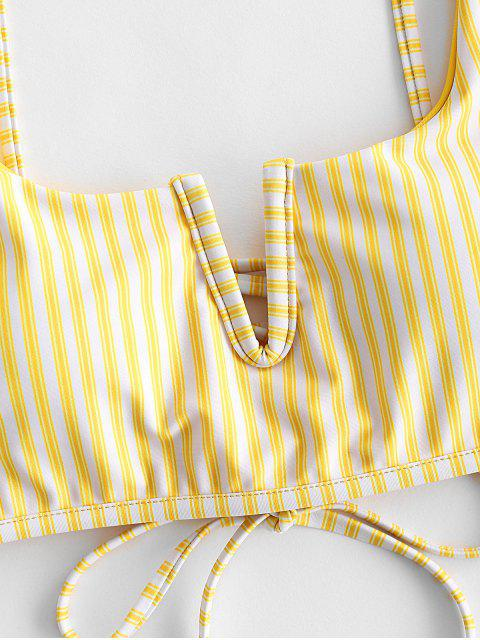 fancy ZAFUL V Wire Lace-up Striped Bikini Top - SUN YELLOW S Mobile