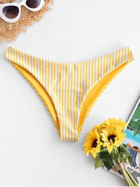 ZAFUL Listrado Reversível Calcinhas de Biquíni - Amarelo do Sol M Mobile