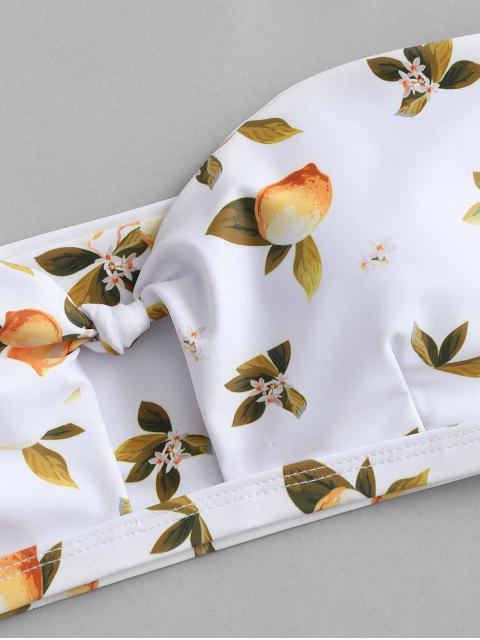 Costume da Bagno Bikini Annodato a Fascia Stampato Limone con Volant di ZAFUL - Bianca M Mobile