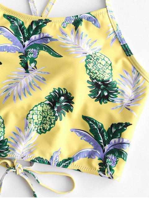 ZAFUL Haut de Bikini Court Ananas Feuille Tropicale à Lacets - Multi-A 2XL Mobile