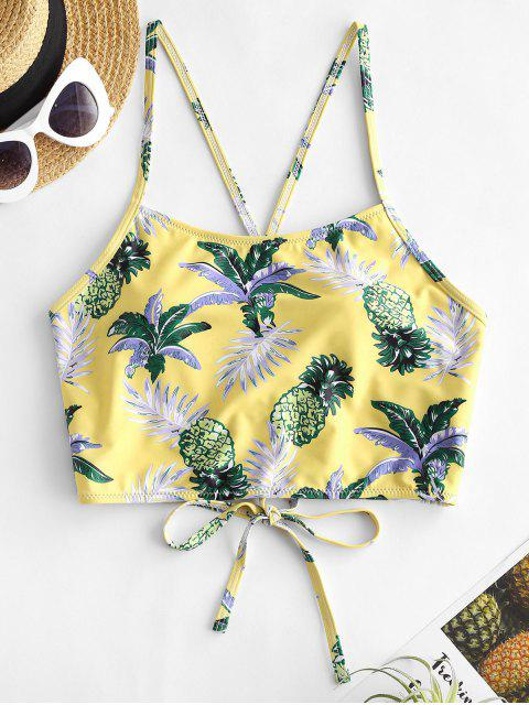 ZAFUL Tropical Pineapple Leaf Lace-up Cropped Bikini Top - متعددة-A M Mobile