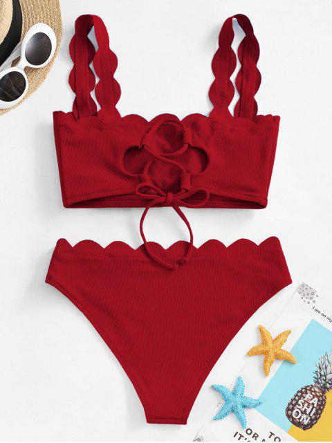 affordable ZAFUL Textured Scalloped Bikini Swimsuit - RED WINE M Mobile