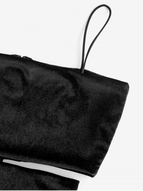 outfit Velvet Cutout Mini Bodycon Dress - BLACK M Mobile