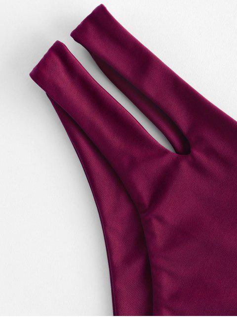 new ZAFUL Cutout Bikini Bottom - PLUM PIE S Mobile
