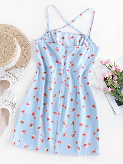 ZAFUL Kreuzes und Queres Minikleid mit Ditsydruck - Meerblau M Mobile