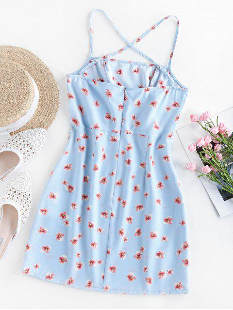 online ZAFUL Ditsy Print Crisscross Mini Dress - SEA BLUE S Mobile