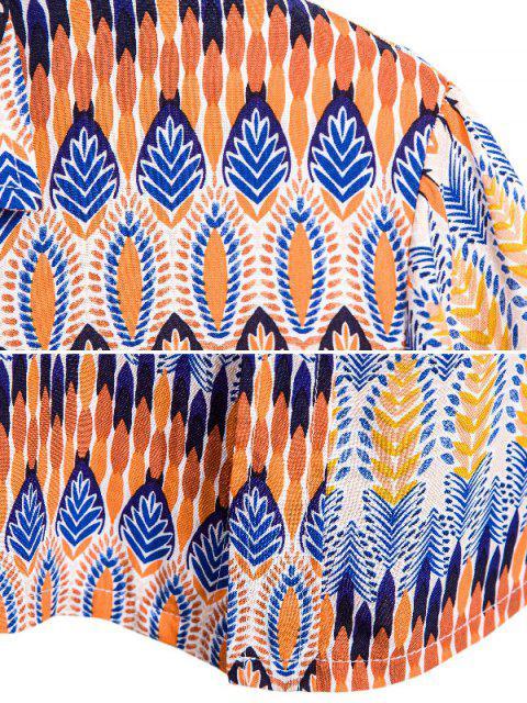 Chemise EthniqueBoutonnéeMotif de Feuille sans Couture - Multi 3XL Mobile