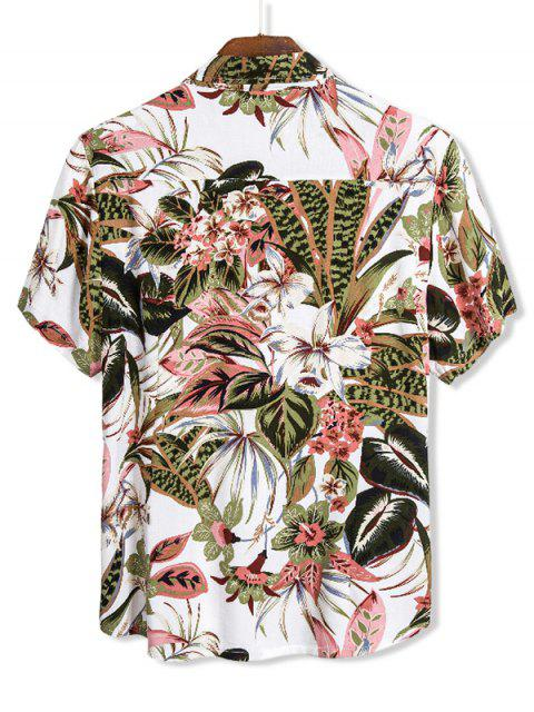 shops Floral Leaves Print Hawaii Button Up Shirt - MULTI 2XL Mobile