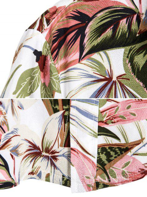 outfit Floral Leaves Print Hawaii Button Up Shirt - MULTI M Mobile
