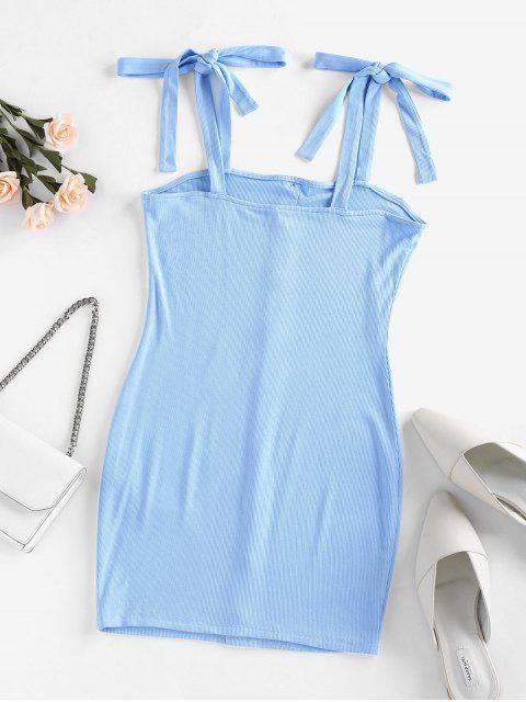 best ZAFUL Ribbed Tie Shoulder Bodycon Dress - DAY SKY BLUE S Mobile