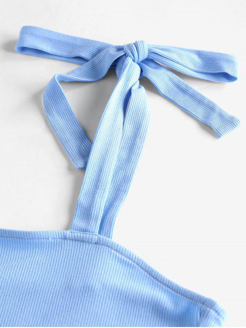 trendy ZAFUL Ribbed Tie Shoulder Bodycon Dress - DAY SKY BLUE M Mobile
