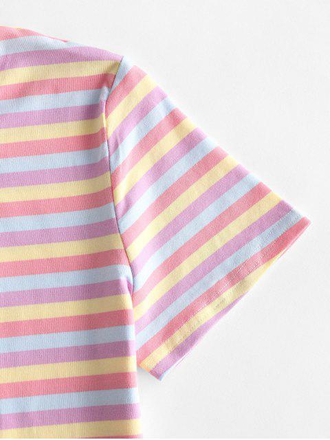Geerntetes Buntes Gestreiftes T-Shirt - Multi-B M Mobile