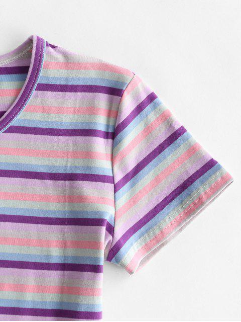 Geerntetes Buntes Gestreiftes T-Shirt - Multi-C S Mobile