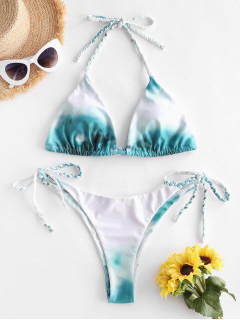 chic ZAFUL Tie Dye Braided String Bikini Swimsuit - GREENISH BLUE M Mobile