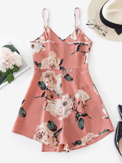 best ZAFUL Floral Print Overlap Cami Romper - ROSE S Mobile