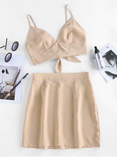 trendy ZAFUL Back Tie Co Ord Set - APRICOT L Mobile