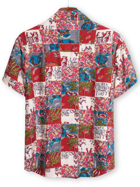 latest Ethnic Palm Tree Pattern Button Up Tee - RED 2XL Mobile